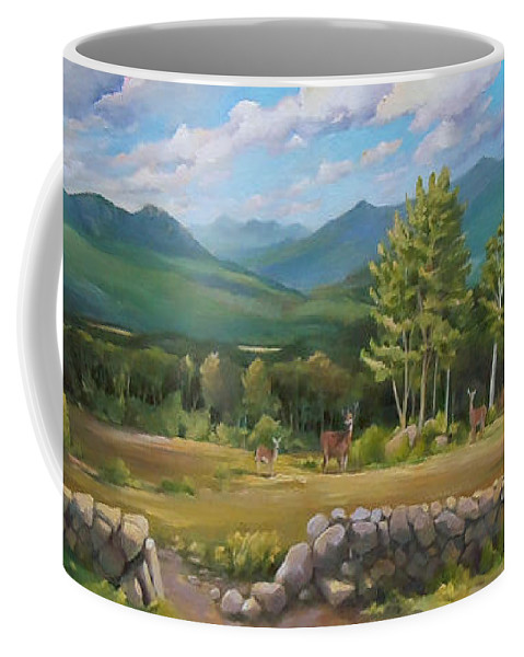 White Mountain Art Coffee Mug featuring the painting A White Mountain View by Nancy Griswold