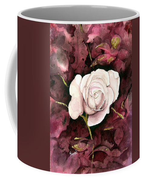 Flower Coffee Mug featuring the painting A White Rose by Sam Sidders