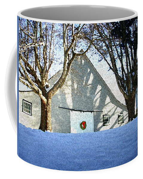 Barn Coffee Mug featuring the photograph A Winter Holiday At The Farm by Robert Ponzoni