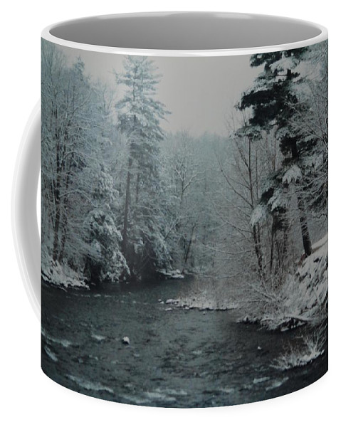 B&w Coffee Mug featuring the photograph A Winter Waterland by Rob Hans