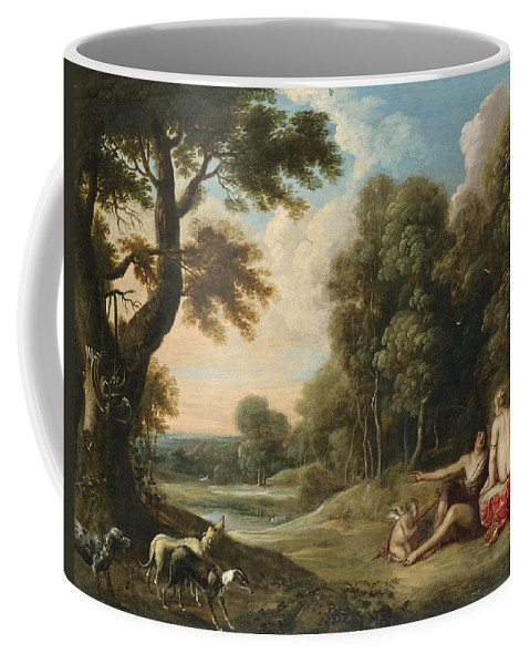 Frans Wouters Coffee Mug featuring the painting A Wooded Landscape With Venus Adonis And Cupid by Frans Wouters