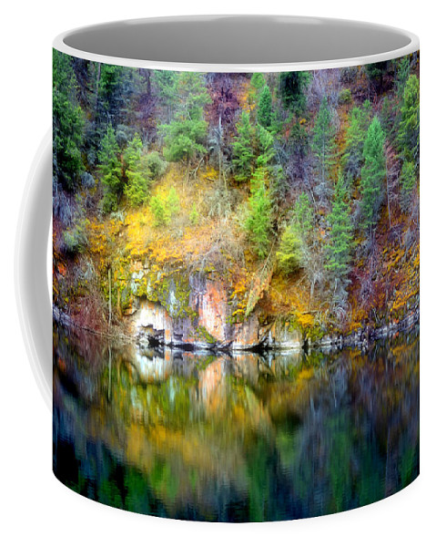 Lake Coffee Mug featuring the photograph A Yellow Lake Calm by Tara Turner
