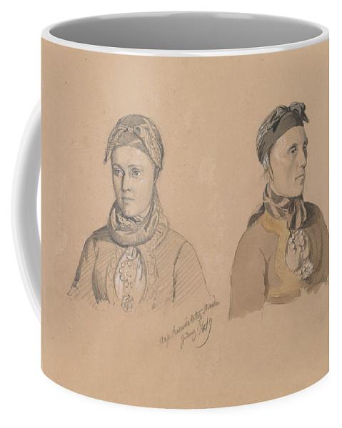 Norwegian Art Coffee Mug featuring the drawing Aase Rasmusdatter Stranden And Anna Troelsdatter Kittelsviken by Adolph Tidemand