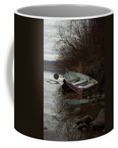 Abandoned Coffee Mug featuring the photograph Abandoned Boat by Cindy Johnston