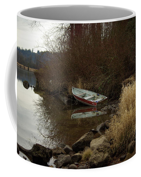 Abandoned Coffee Mug featuring the photograph Abandoned Boat II by Cindy Johnston