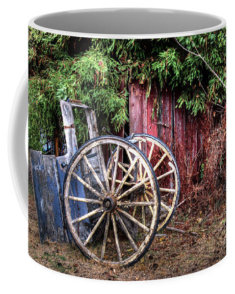 Horse Coffee Mug featuring the photograph Abandoned Cart by Jim And Emily Bush