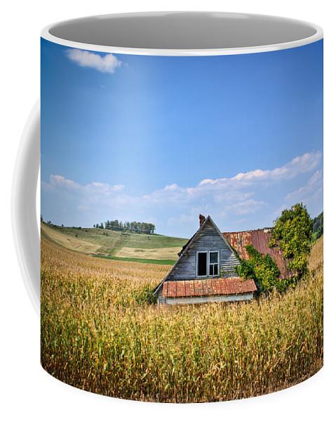 Abandoned Coffee Mug featuring the photograph Abandoned Corn Field House by Douglas Barnett