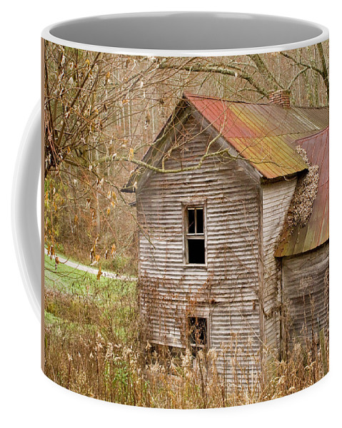 Abandoned Coffee Mug featuring the photograph Abandoned House With Colorful Roof by Douglas Barnett