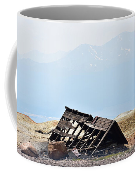 Abandoned Coffee Mug featuring the photograph Abandoned In A Sea Of Mining Tailings by Sharon Horning