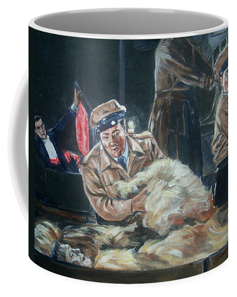 Comedy Coffee Mug featuring the painting Abbott And Costello Meet Frankenstein by Bryan Bustard