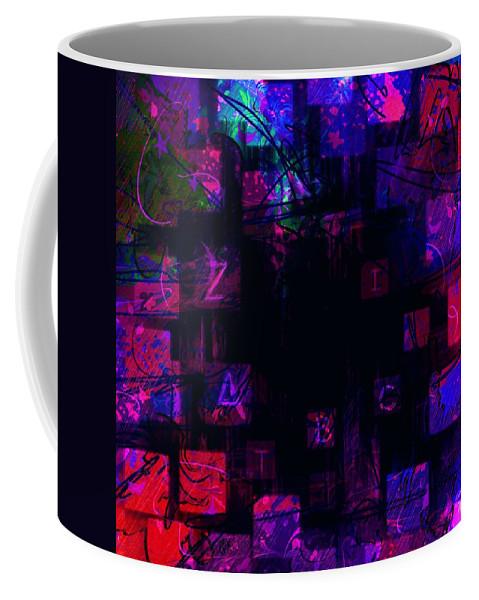 Abstract Coffee Mug featuring the digital art Abc's by Rachel Christine Nowicki