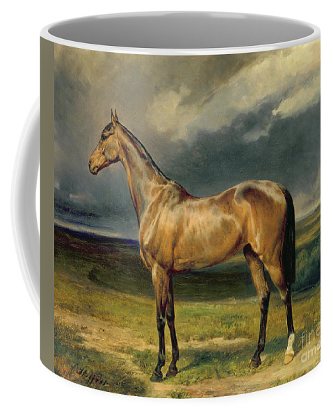 Equestrian; Portrait; Brown; Bay; Landscape; Horse Coffee Mug featuring the painting Abdul Medschid The Chestnut Arab Horse by Carl Constantin Steffeck
