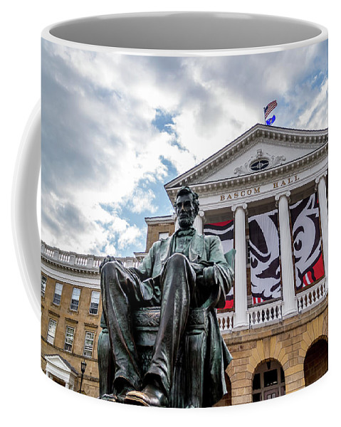 Bascom Hall Coffee Mug featuring the photograph Abe On Bascom Hill by Rockland Filmworks
