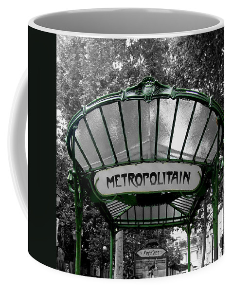 Paris Coffee Mug featuring the photograph Abessess Metro by D Cochener