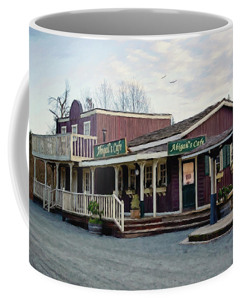 Abigails Cafe Coffee Mug featuring the painting Abigail's Cafe - Hope Valley Art by Jordan Blackstone