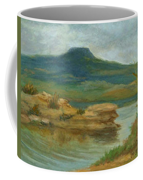 Oil Landscape Coffee Mug featuring the painting Abiquiu Lake Cloudy Day by Phyllis Tarlow