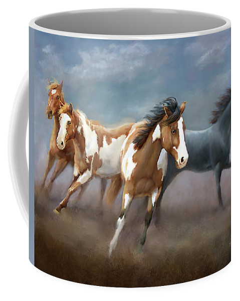 Horses Coffee Mug featuring the digital art About Face by Barbara Hymer