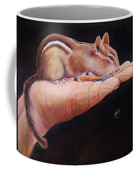 Chipmunk Coffee Mug featuring the painting About Trust by Jean Cormier