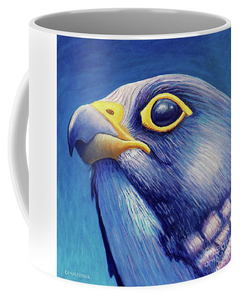 Falcon Coffee Mug featuring the painting Above And Beyond by Brian Commerford