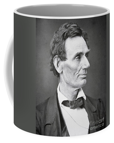 Abraham Lincoln (1809-65) 1860 (b/w Photo) By Alexander Hesler (1823-95) Coffee Mug featuring the photograph Abraham Lincoln by Alexander Hesler