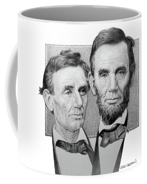 Abraham Lincoln Coffee Mug featuring the drawing Abraham Lincoln by Gene Sherman