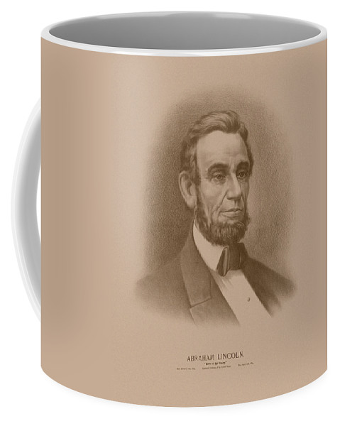 Abraham Lincoln Coffee Mug featuring the drawing Abraham Lincoln - Savior Of His Country by War Is Hell Store