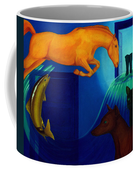 Surreal Coffee Mug featuring the painting Absence. by Andrzej Pietal