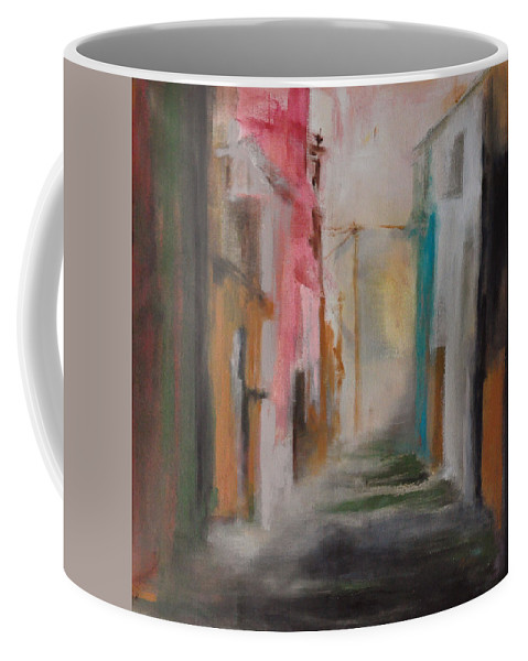 Town Coffee Mug featuring the painting Absence Of The Day by Rome Matikonyte