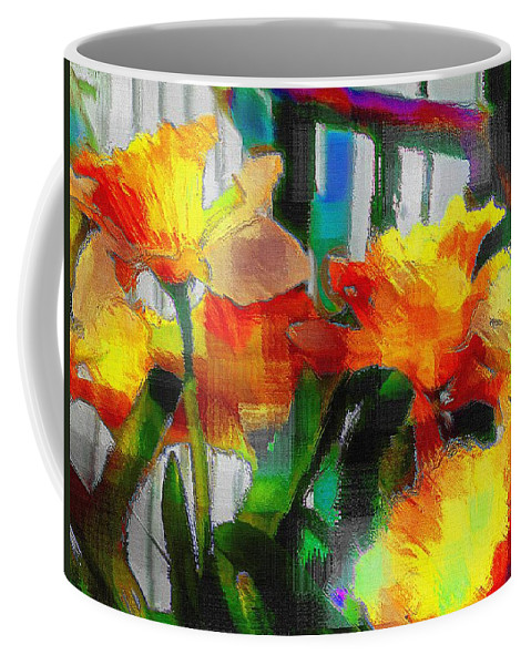 Absinthe Coffee Mug featuring the painting Absinthe Daffies by RC DeWinter