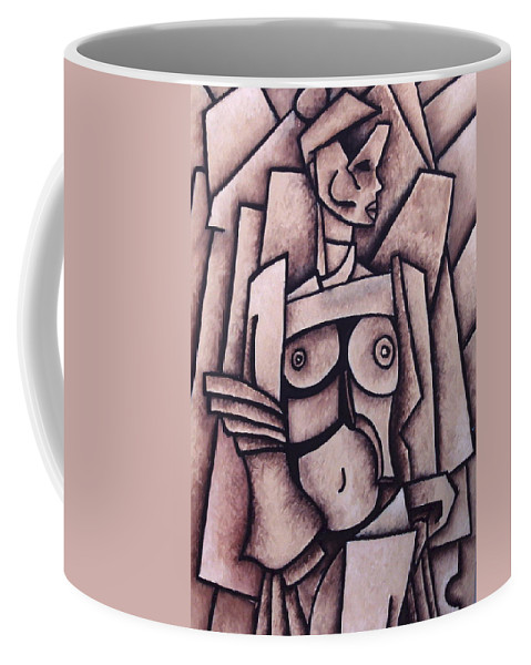 Absract Coffee Mug featuring the painting Absract Girl by Thomas Valentine