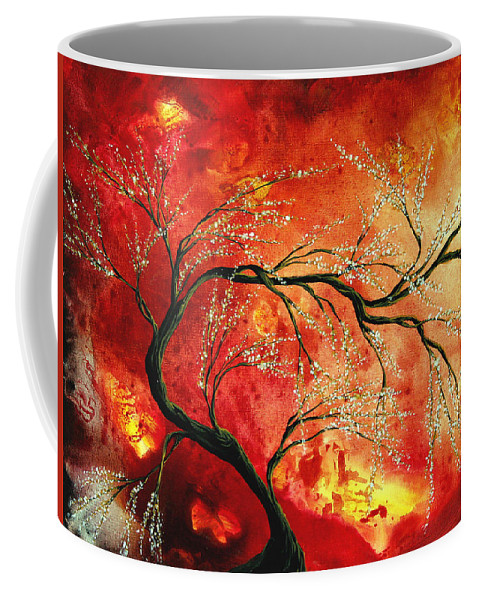 Abstract Coffee Mug featuring the painting Abstract Art Floral Tree Landscape Painting FRESH BLOSSOMS by MADART by Megan Duncanson