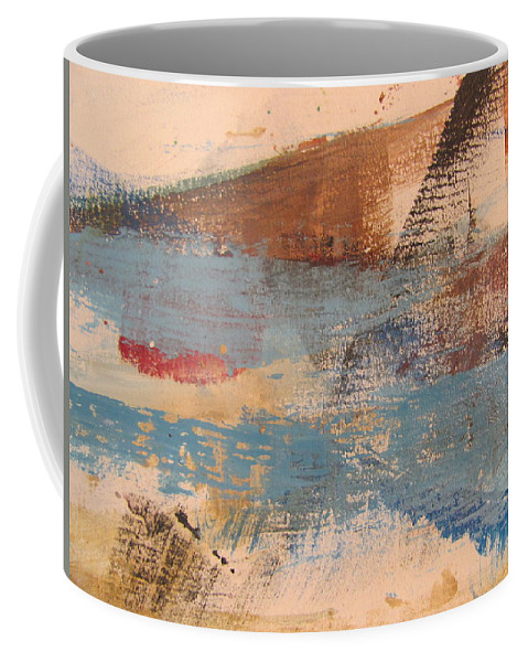 Abstract Coffee Mug featuring the painting Abstract At Sea 2 by Anita Burgermeister