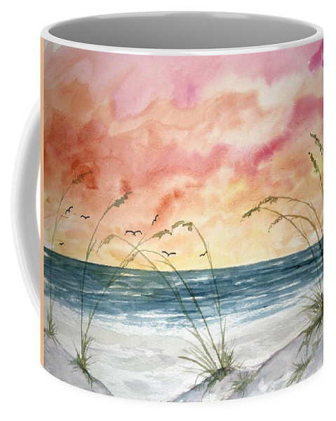 Abstract Coffee Mug featuring the painting Abstract Beach Painting by Derek Mccrea