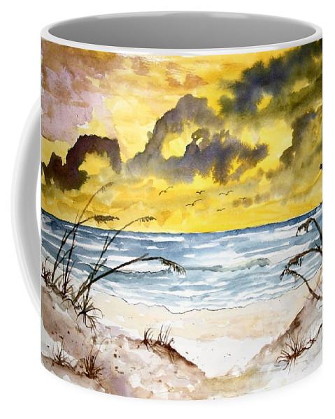 Beach Coffee Mug featuring the painting Abstract Beach Sand Dunes by Derek Mccrea