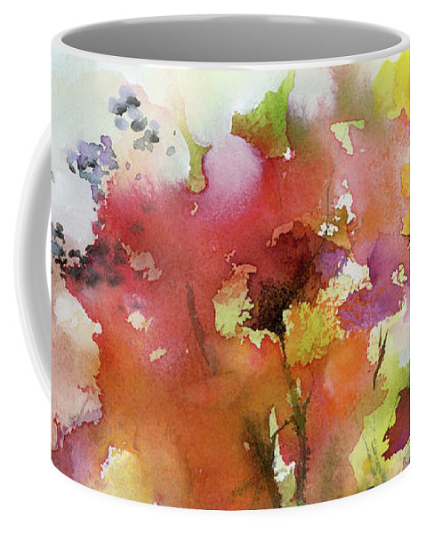 Autumn Coffee Mug featuring the painting Abstract Bird Migration Autumn Tree Tops by Ginette Callaway