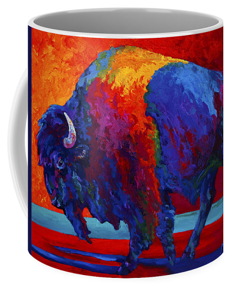 Bison Coffee Mug featuring the painting Abstract Bison by Marion Rose