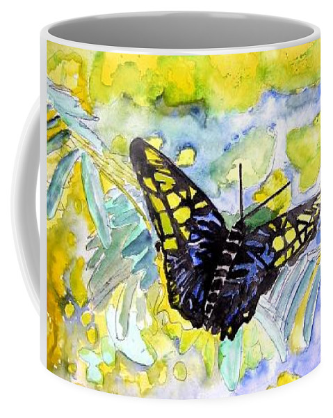 Abstract Coffee Mug featuring the painting Abstract Butterfly by Derek Mccrea