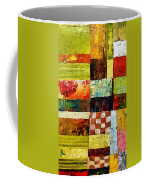 Patchwork Coffee Mug featuring the painting Abstract Color Study with Checkerboard and Stripes by Michelle Calkins