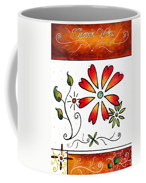 Abstract Coffee Mug featuring the painting Abstract Decorative Greeting Card Art Thank You By Madart by Megan Duncanson