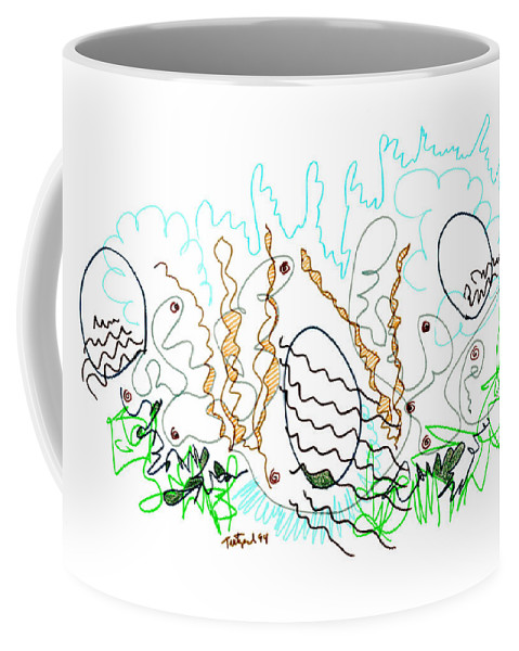 Abstract Coffee Mug featuring the drawing Abstract Drawing Sixty-one by Lynne Taetzsch
