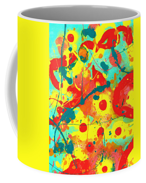Abstract Coffee Mug featuring the painting Abstract Floral Fantasy Panel A by Amy Vangsgard