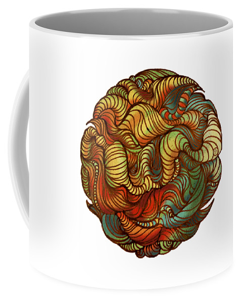 Abstract Coffee Mug featuring the painting Abstract Forest Ball by Irina Effa