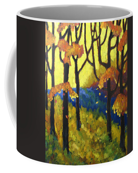 Art Coffee Mug featuring the painting Abstract Forest by Richard T Pranke