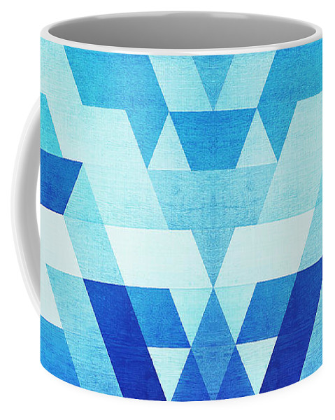 Blue Coffee Mug featuring the digital art Abstract Geometric Triangle Pattern Futuristic Future Symmetry In Ice Blue by Philipp Rietz
