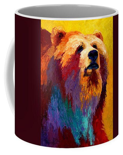 Western Coffee Mug featuring the painting Abstract Grizz by Marion Rose