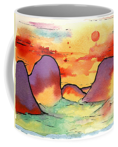 Abstract Landscape Coffee Mug featuring the painting Abstract Landscape 006 by Joe Michelli