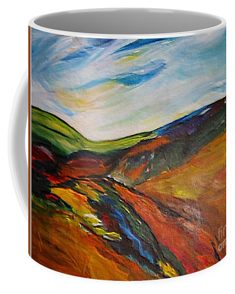 Hills Coffee Mug featuring the painting abstract landscape-Haloze by Dragica Micki Fortuna