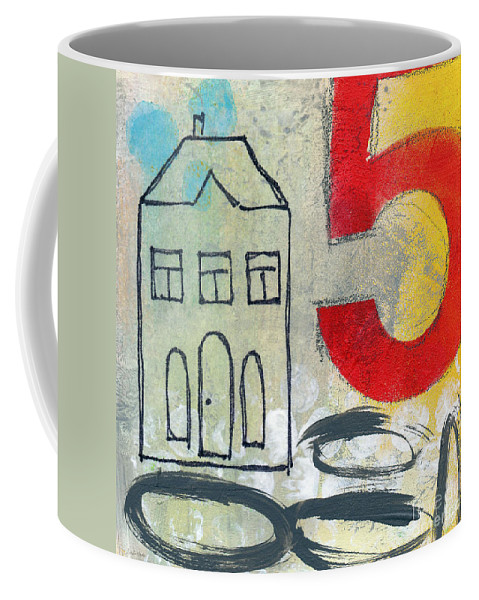 House Coffee Mug featuring the painting Abstract Landscape by Linda Woods