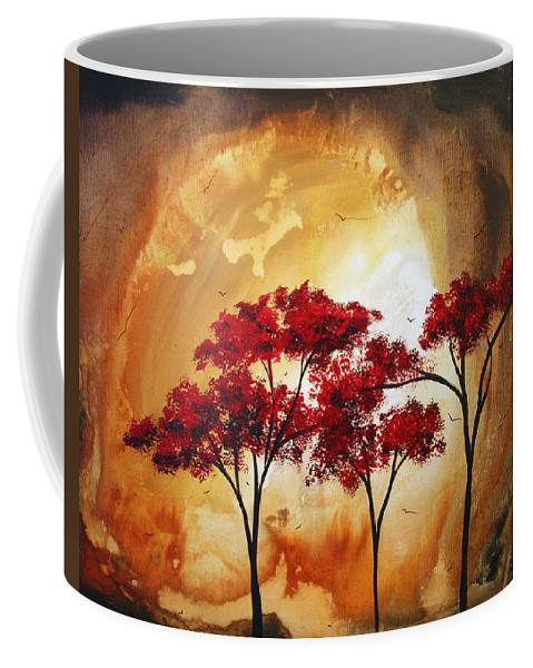 Abstract Coffee Mug featuring the painting Abstract Landscape Painting Empty Nest 2 By Madart by Megan Duncanson
