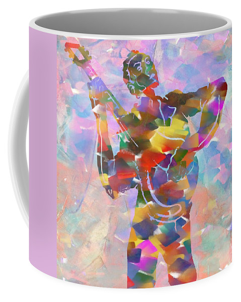 Abstract Musician Guitarist Coffee Mug featuring the painting Abstract Musican Guitarist by Dan Sproul